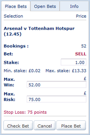 Selling Total Bookings - Maximum Win and Maximum Risk - Arsenal Vs Tottenham
