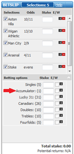 PaddyPower accumulator bet shown with a (1) to show one bet covering all selections