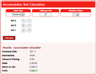 Accumulator profit of £535 from a £30 stake for 3 selections