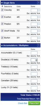 Coral betslip showing total number of lines for 5 bets - with £10 selected per line on doubles meaning a £100 total stake is required for the bet.