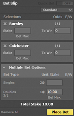 Bet365 betslip showing two even money selections add up to 3 to 1