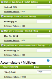 William Hill accumulator bet shows a £10 stake returning £90.60 should all 4 selections win