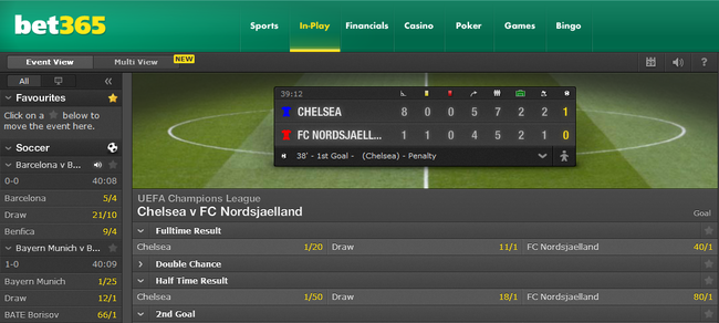 Example of In-Play markets in Champions League match from Bet365
