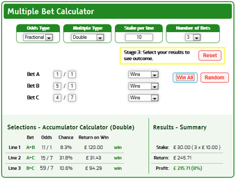 Multiples profit of £215 from a £30 total stake using combinations of doubles across 3 selections